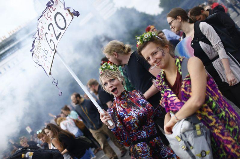 Акция протеста перед саммитом G20 в Гамбурге.