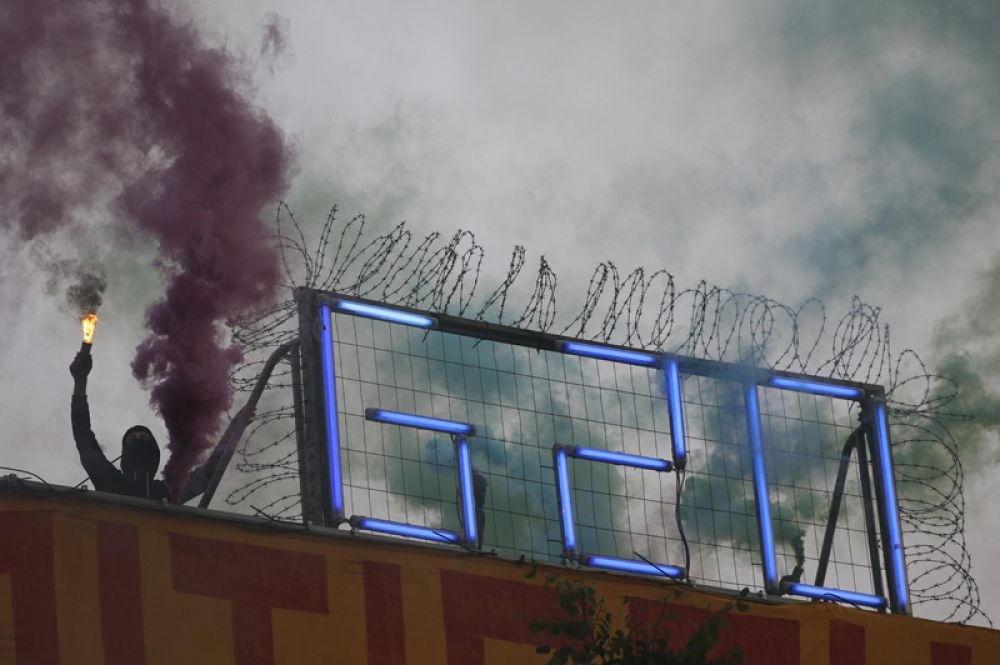 5 июля. Протесты перед саммитом G20 в Гамбурге, Германия.