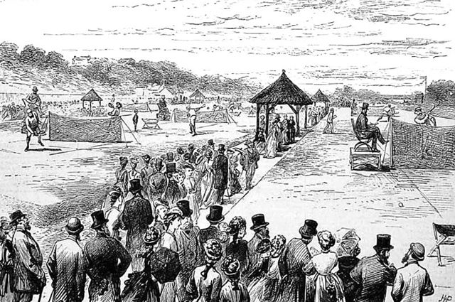 Гравюра 1877 года, изображающая первый Уимблдонский турнир.