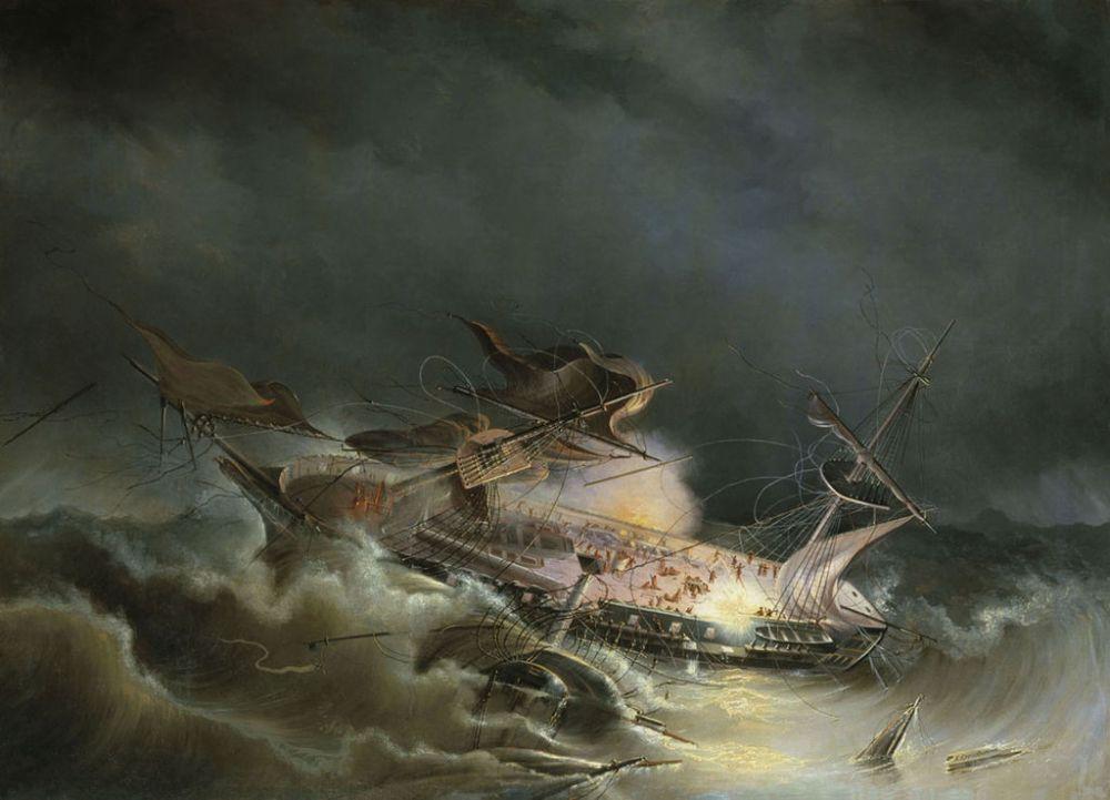 30 августа 1842 года в проливе Сгакеррак между Балтийским и Северным морями затонул линейный корабль Российской империи «Ингерманланд». Он наскочил на подводные камни во время сильного шторма. Погибли 389 человек, в том числе 21 женщина и 7 детей.