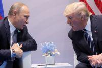 Дональд Трамп и Владимир Путин на переговорах