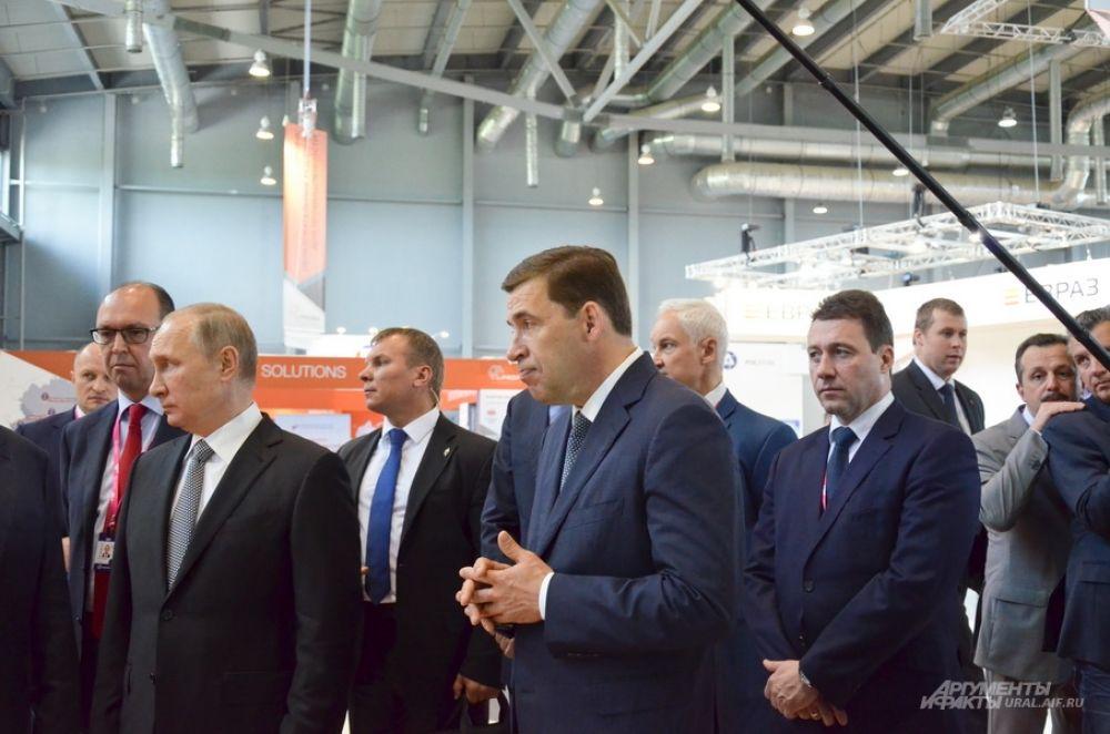 Владимир Путин, Евгений Куйвашев и Игорь Холманских.
