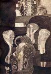 «Юриспруденция», 1899–1907 годы. В 1894 году Климт получил заказ на создание трёх картин для украшения потолка большого актового зала главного здания Венского университета. Аллегорические работы «Философия», «Медицина» и «Юриспруденция», известные как «факультетские», были закончены к 1900 году, однако во время Второй мировой они сгорели.