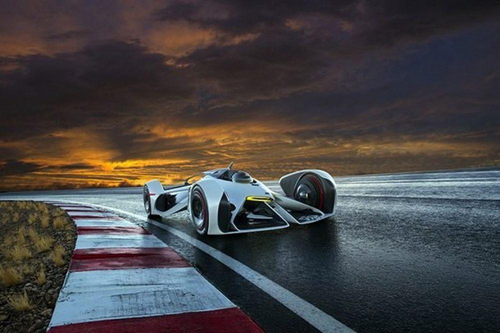 Chevrolet Chaparral 2X Vision GT. Машина создана специально для гонок Gran Turismo. Чтобы управлять таким авто, придется лечь, а не сесть. Мотор работает за счет лазера, а шлем водителя оснащен дисплеем. Новое авто разгоняется до 386 километров в час.