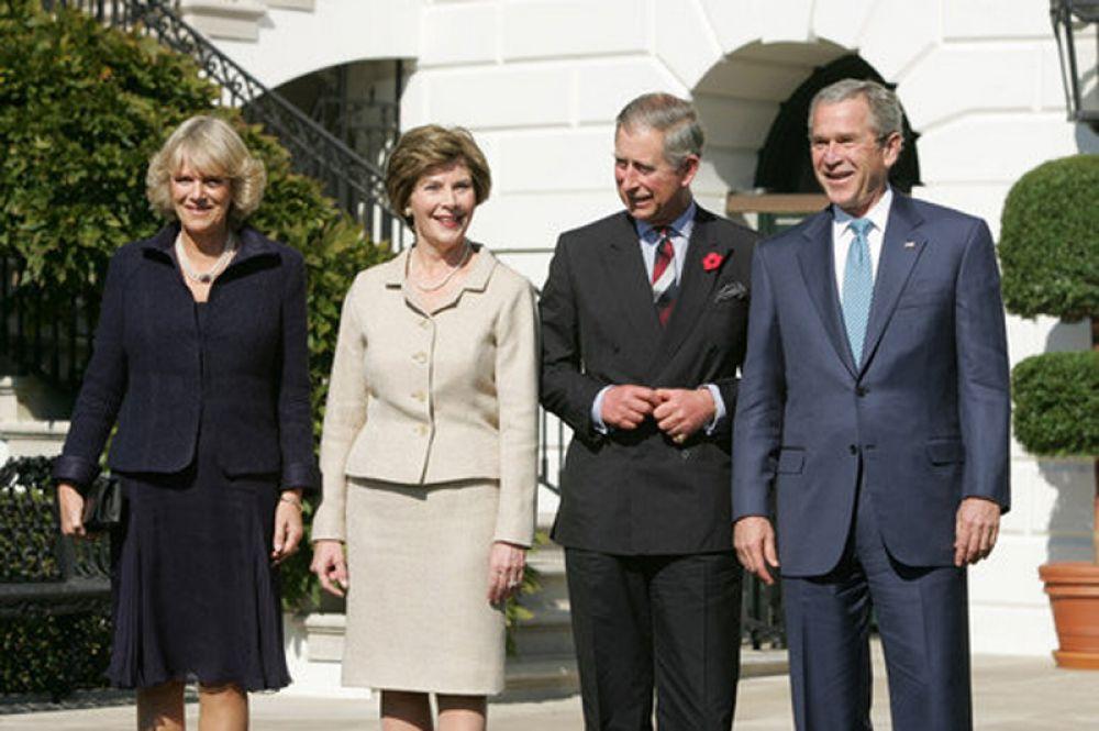 2005 год. Джордж Буш-младший и Чарльз, принц Уэльский, с супругами.