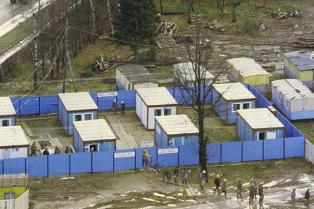 Передвижной поселок строителей.