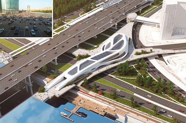 Мост-галерея на Краснопресненской набережной станет связующим звеном между станциями метро и МЦК, бизнес-центром и набережной.