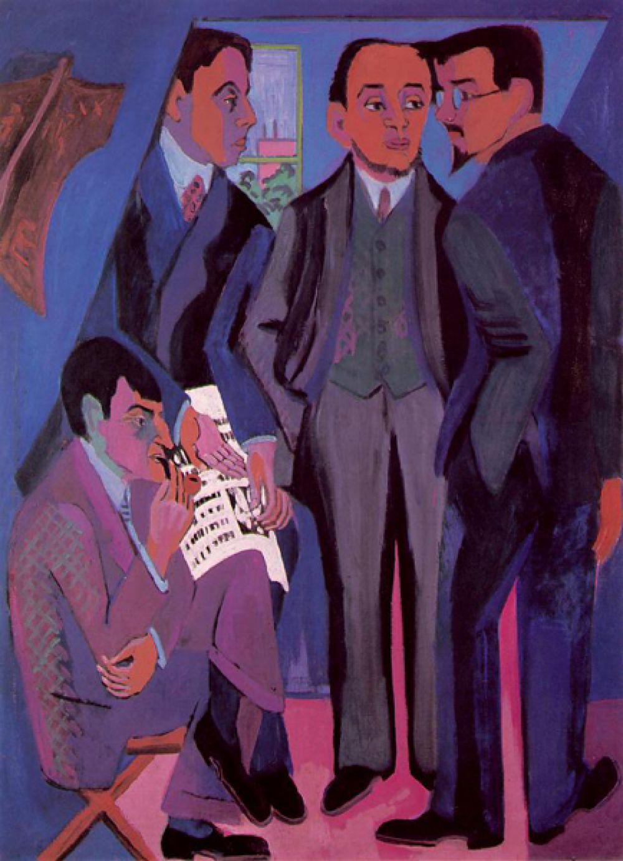 Эрнст Людвиг Кирхнер «Групповой портрет участников группы «Мост», 1926-1927 год.