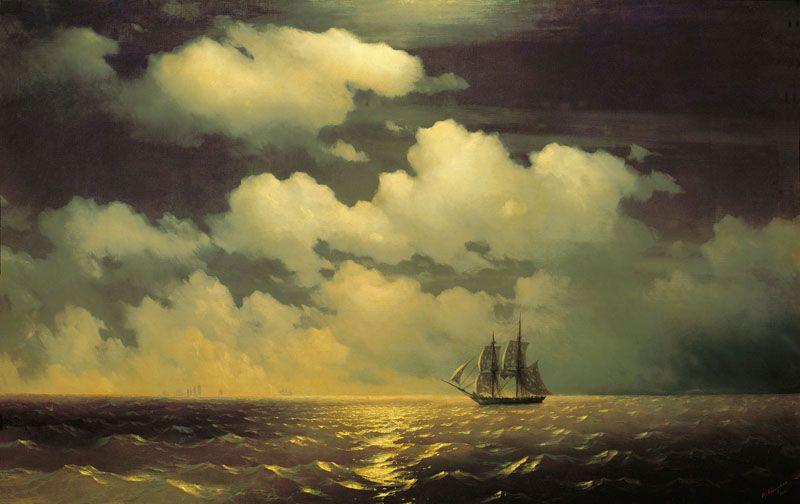 """«Бриг """"Меркурий"""" после победы над двумя турецкими судами встречается с русской эскадрой», 1848 год."""