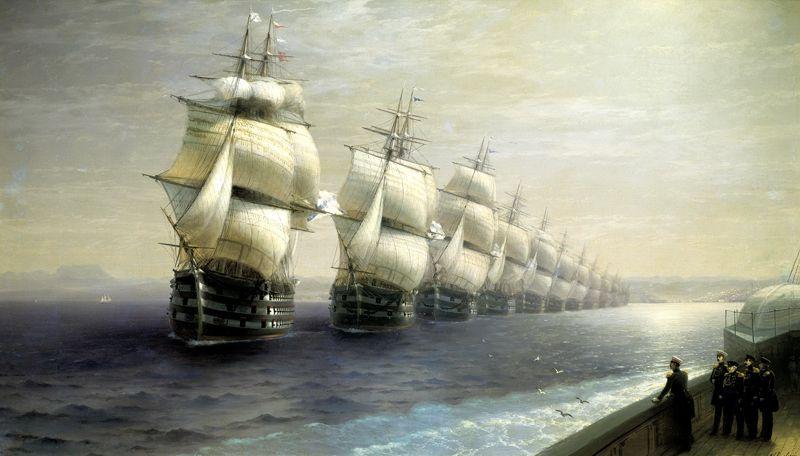 «Смотр Черноморского флота в 1849 году» (первым идет флагман «12 Апостолов»), 1886 год.