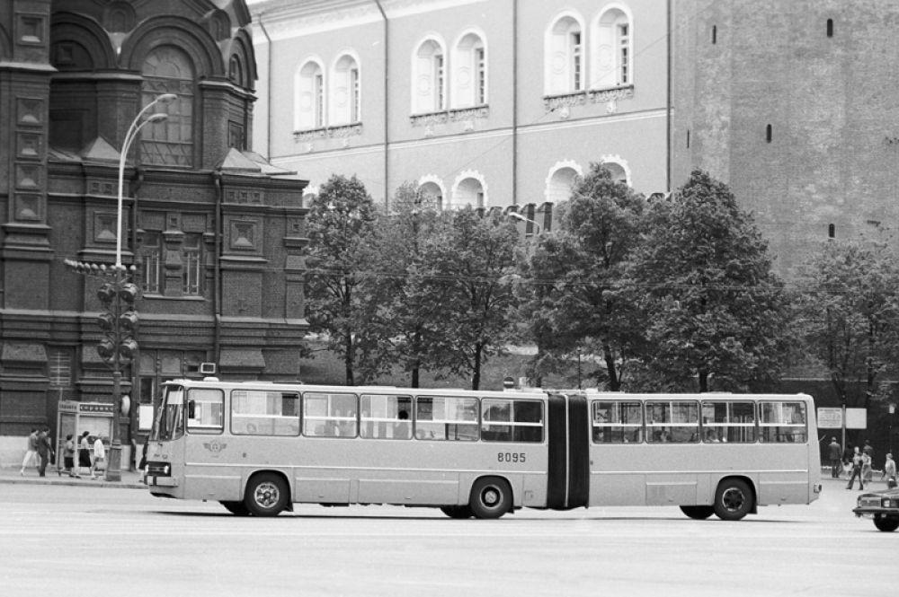 С середины 1970-х годов основной объём перевозок стал приходиться именно на автобусы этой марки. На фото: автобус «Икарус-280» на маршруте, 1986 год.