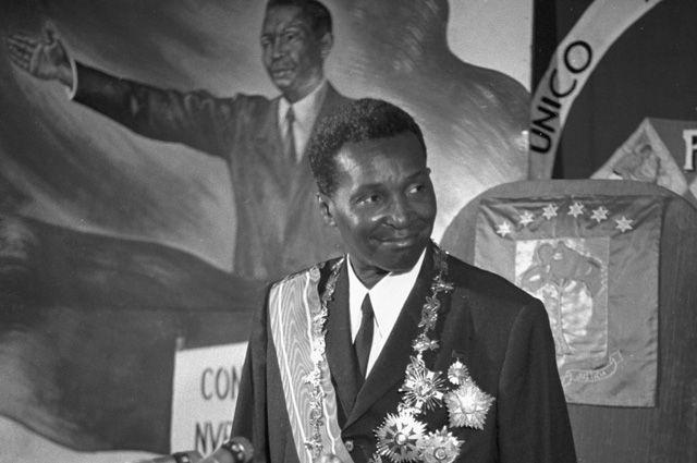 Франсииско Масиас Нгема на III съезде Единой национальной партии трудящихся Гвинеи. 1973 г.