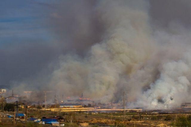 Пожар на город перешёл с деревообрабатывающего предприятия.
