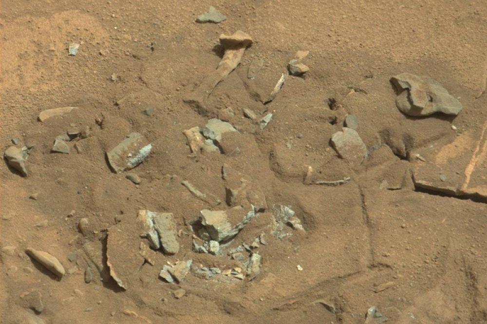 Август 2014 года. Скала на Марсе, похожая на бедренную кость. Члены исследовательской команды Curiosity считают, что её форма, вероятно, обусловлена эрозией: ветром или водой.