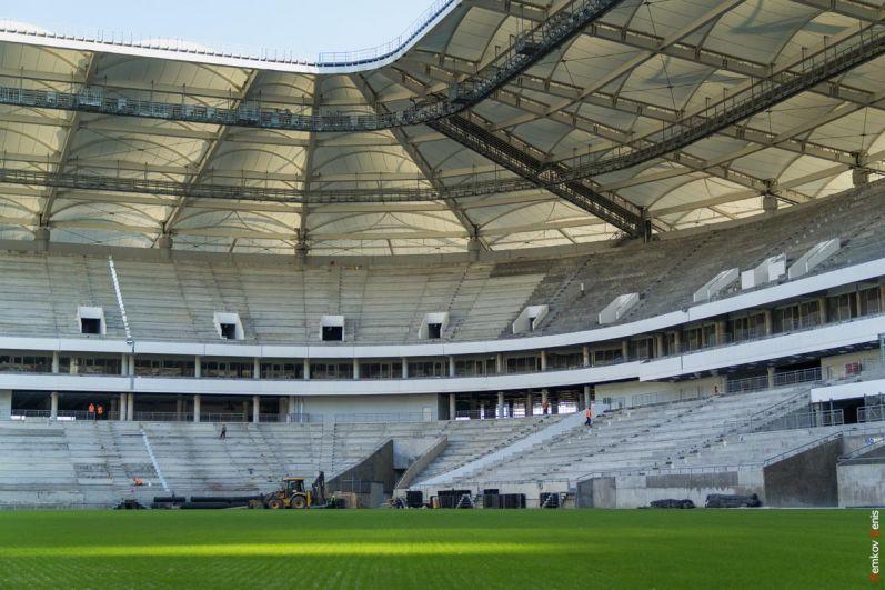 Прежде, чем на стадион выйдут спортсмены, газон несколько раз будет пострижен.