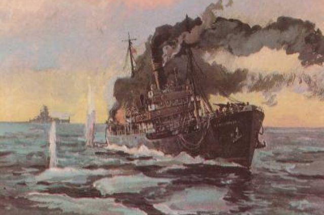 Бой ледокола «Александр Сибиряков» с крейсером «Адмирал Шеер» 25 августа 1942 года. П. П. Павлинов, 1945 год.