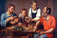 «Крестьянское семейство перед обедом» Ф.Г. Солнцев.
