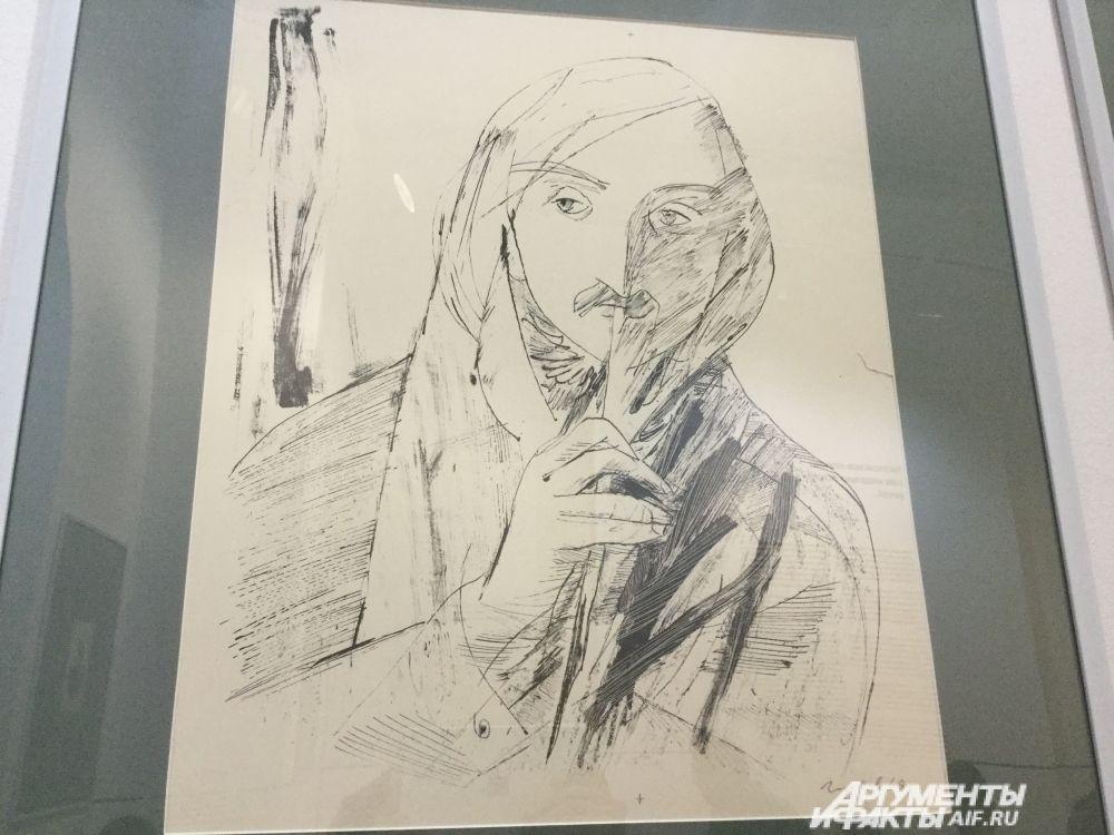Виталий Горяев «Портрет Н.В. Гоголя» (1968, бумага, литография). Дружба Айвазовского и Гоголя началась в Италии и продолжилась всю жизнь. Писатель использовал цветовые метафоры и цвет, изображённый Айвазовским в маринах, в характеристике Чичикова в романе «Мёртвые души».