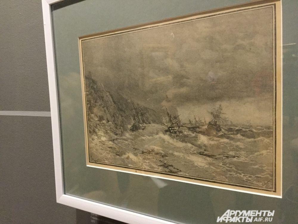 Рисунок Алексея Троицкого «Буря на море» – копия картины Ивана Айвазовского.