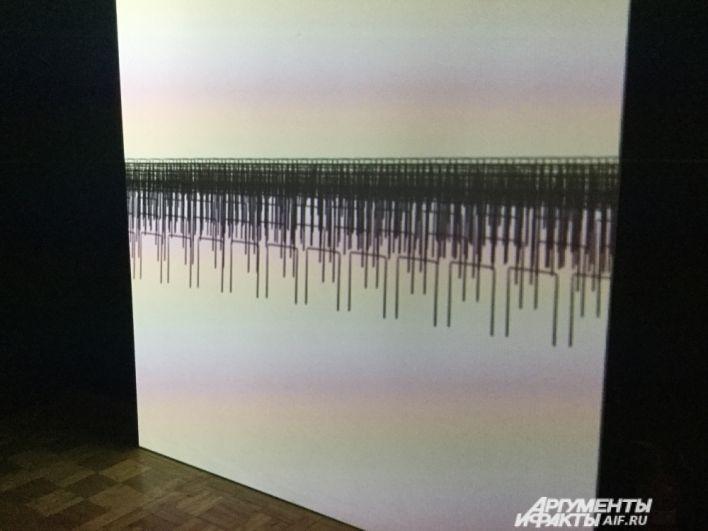 Пермский художник Елена Слобцева специально для выставки подготовила видеоинсталляцию «Волна».