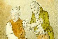 Процедура кровопускания. 1804 г. Рисунок Джеймса Гилрея.