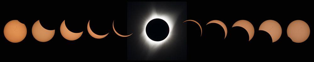 Коллаж изодиннадцати фото показывает прогрессию затмения отЛинкольн-Бич, штат Орегон, доЧарлстон, Южная Каролина вСША.