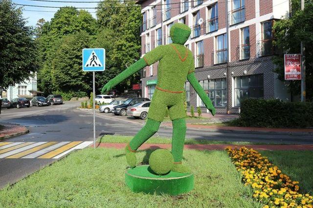 В Светлогорске установили статую футболиста из травы.