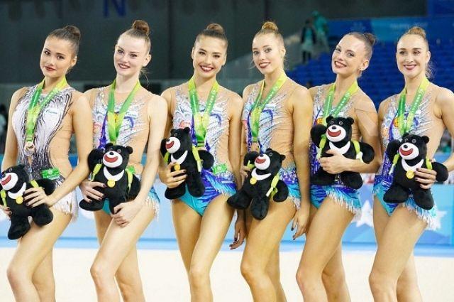 Сборная России по художественой гимнастике.