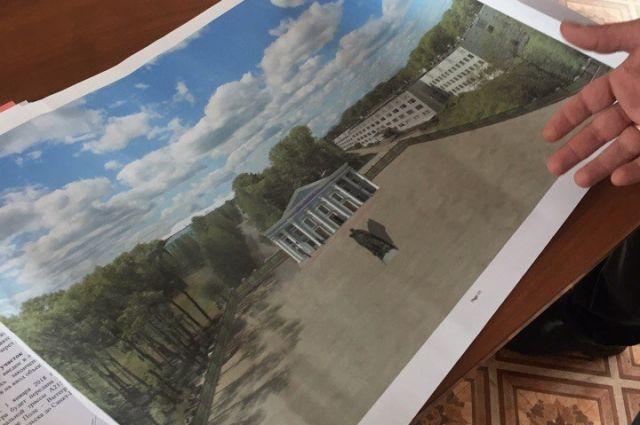 Первый эскиз концепции нового здания библиотеки от плесецких предпринимателей.