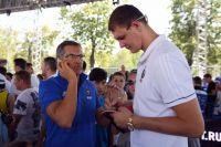 Главный тренер мужской сборной России по баскетболу Сергей Базаревич (слева) и игрок сборной Тимофей Мозгов.