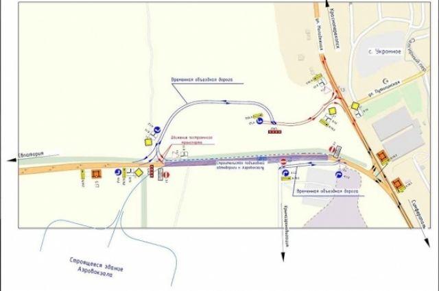Схема организации движения на период строительства нового терминала аэропорта «Симферополь».