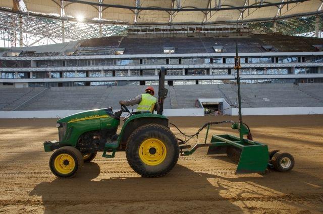 Настадионе «Волгоград Арена» посеяли газон