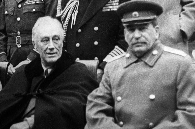 Франклин Рузвельт и Иосиф Сталин. 1945  г, Ялта.