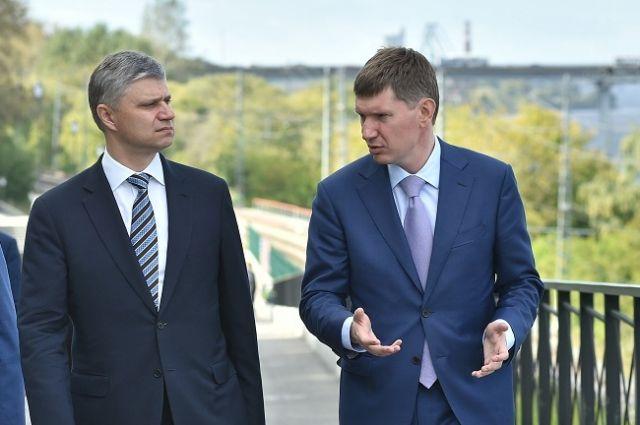 Максим Решетников и Олег Белозёров обсудили планы по переносу ветки железной дороги.