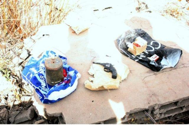 В Новотроицке в заброшенном саду нашли мину и самодельный револьвер.