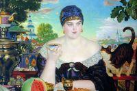 Борис Кустодиев «Купчиха за чаем». 1918 год.