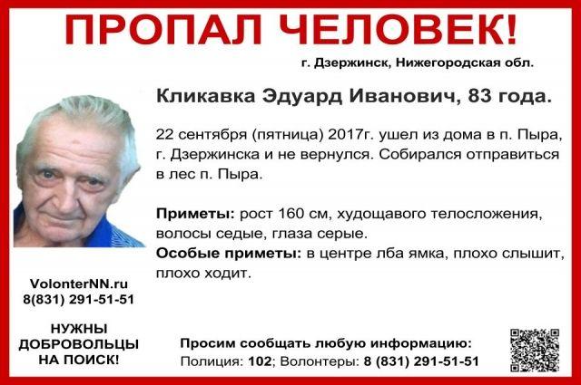 83-летний Эдуард Кликавка пропал вНижегородской области