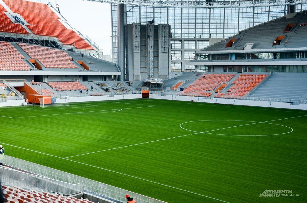 Игровая арена с натуральным футбольным газоном – 125 x 85 метров.