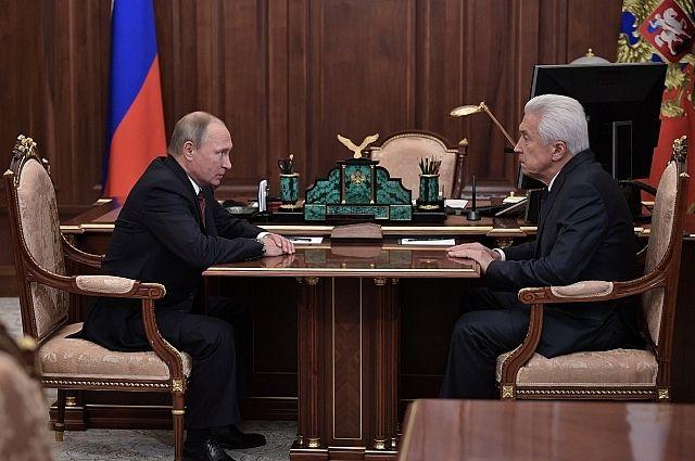 Президент РФ Владимир Путин и врио Дагестана Владимир Васильев.