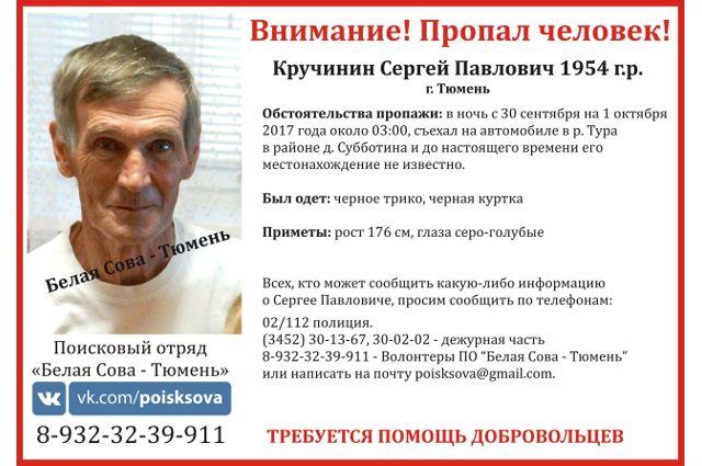 В Тюмени пройдут поиски Кручинина Сергея: его автомобиль достали из реки