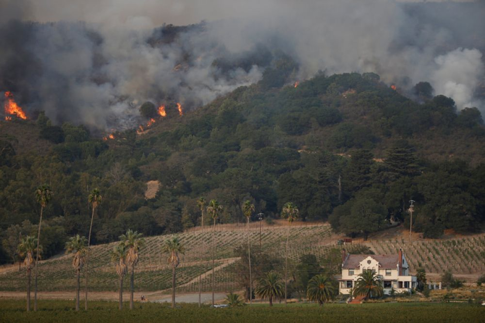 Огонь на склонах около Напа-роуд в округе Сонома.