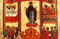 Фрагмент иконы «Покров Пресвятой Богородицы», Новгород, 1401—1425 годы. Государственная Третьяковская галерея.