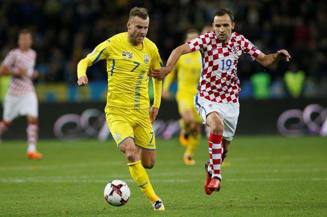 Во время матча между сборными Украины и Хорватии.