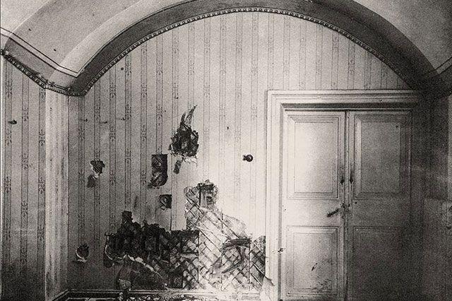 Комната в доме Ипатьева, где была расстреляна царская семья.