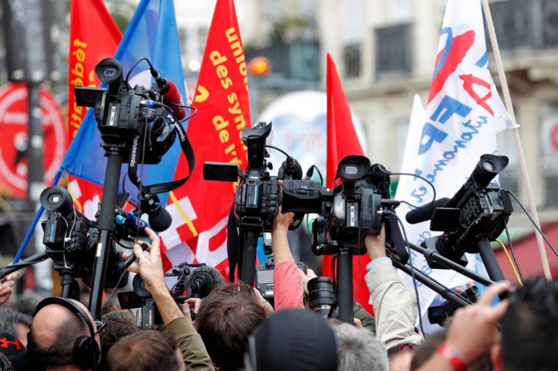 Забастовка против реформ французского правительства в Париже.