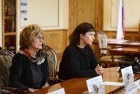 Директор Пушкинского музея Марина Лошак на встрече с Алексеем Островским в Смоленске.