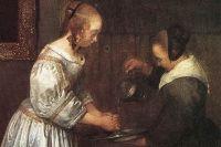 Герард Терборх. Дама, моющая руки. Вторая треть 17 века. Фрагмент.