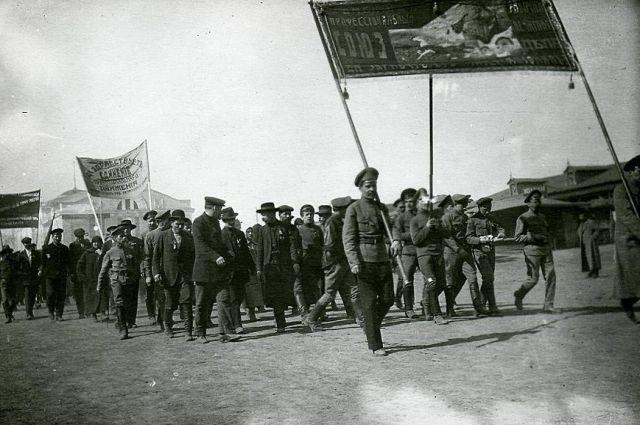 Первомайска демонстрация омских профсоюзов, 1918 г.