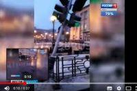 Снесенный светофор в Иркутске.