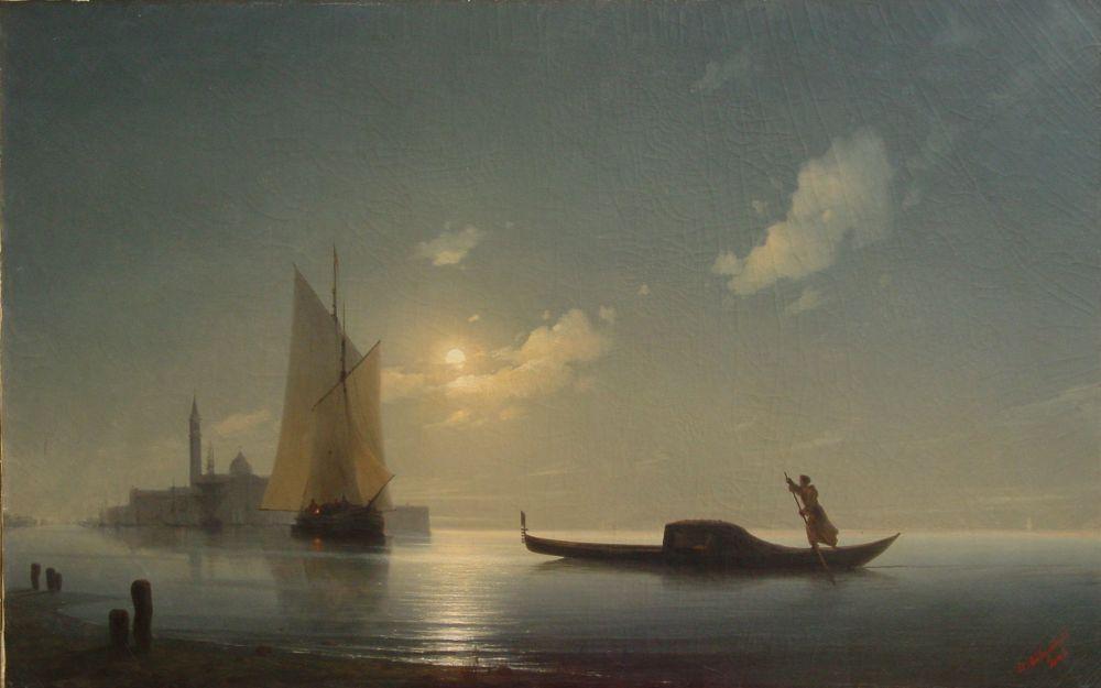 Иван Айвазовский, «Гондольер на море ночью», 1843 год.